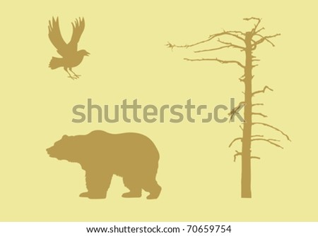 vector silhouettes animal on yellow background - stock vector