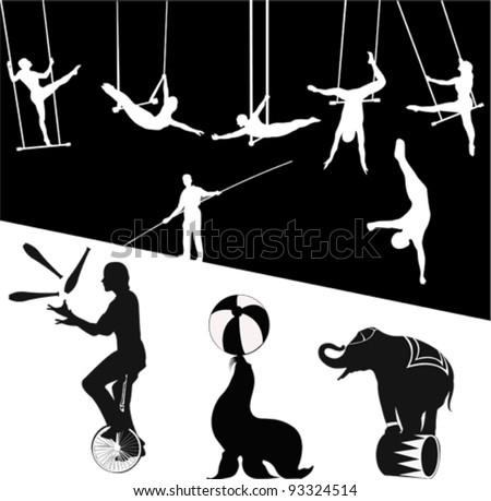 Vector silhouettes.Circus show - stock vector