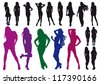 Vector silhouettes drawing beautiful girl - stock vector