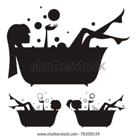 Vector silhouettes: girls in the bath - stock vector