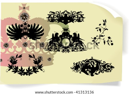 Vector silhouettes, heraldic 2, vector illustration - stock vector