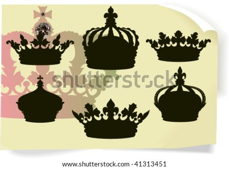 Vector silhouettes, heraldic 5, vector illustration - stock vector