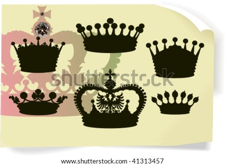 Vector silhouettes, heraldic 7, vector illustration - stock vector