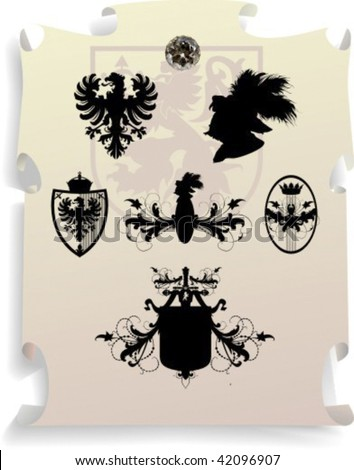Vector silhouettes, heraldic 9, vector illustration - stock vector