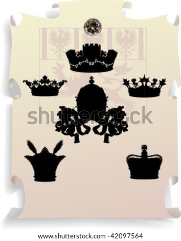 Vector silhouettes, heraldic 12, vector illustration - stock vector