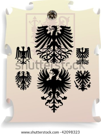 Vector silhouettes, heraldic 14, vector illustration - stock vector