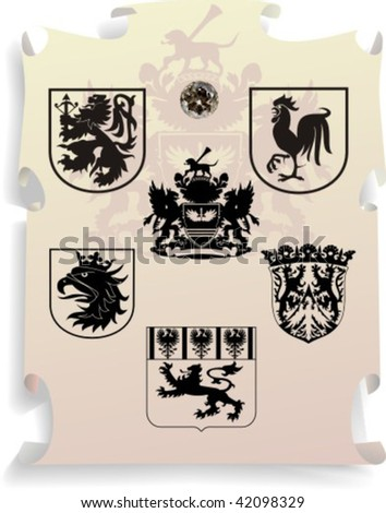 Vector silhouettes, heraldic 16, vector illustration - stock vector