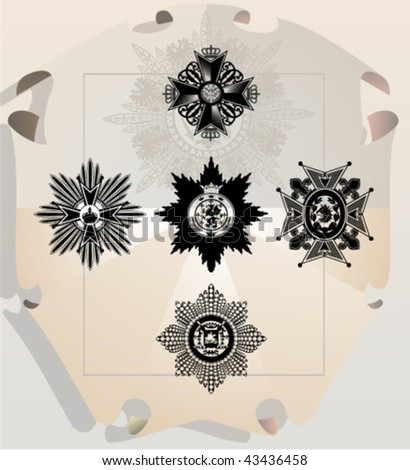 Vector silhouettes, heraldic 20, vector illustration - stock vector