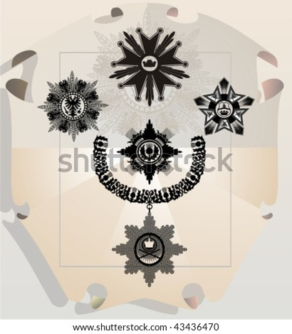 Vector silhouettes, heraldic 22, vector illustration - stock vector