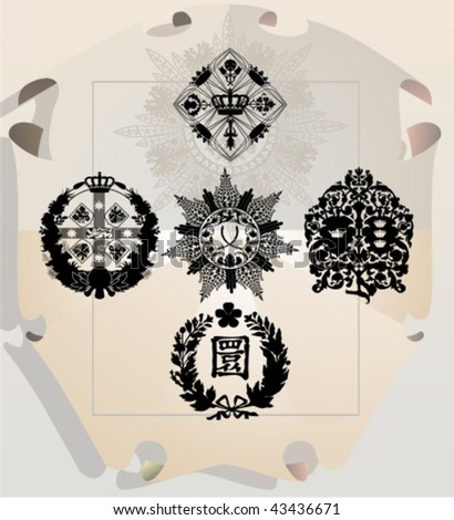 Vector silhouettes, heraldic 27, vector illustration - stock vector