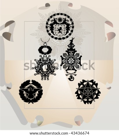 Vector silhouettes, heraldic 25, vector illustration - stock vector