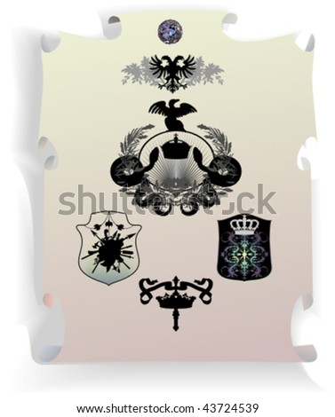 Vector silhouettes, heraldic 32, vector illustration - stock vector