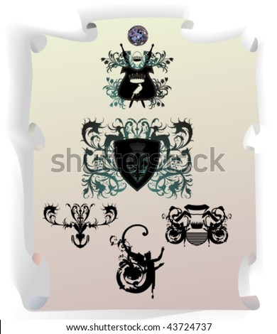 Vector silhouettes, heraldic 30, vector illustration - stock vector
