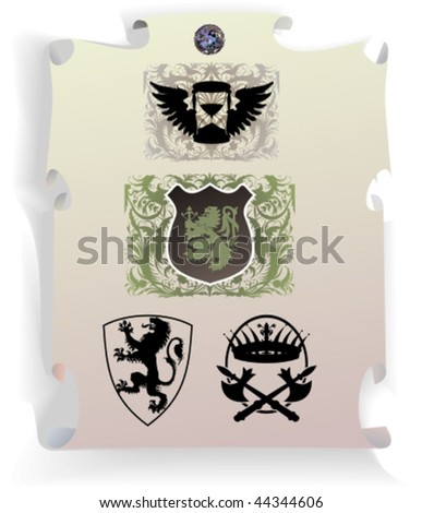 Vector silhouettes, heraldic 31, vector illustration - stock vector