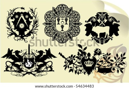 Vector silhouettes, heraldic 33, vector illustration - stock vector