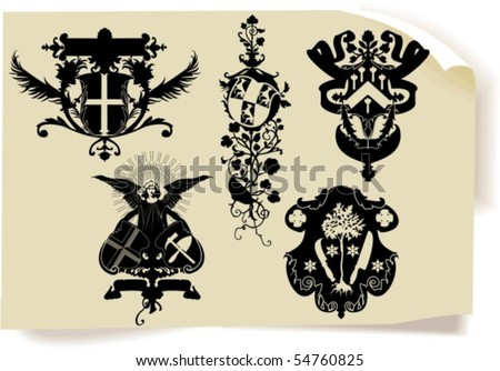 Vector silhouettes, heraldic 34, vector illustration - stock vector