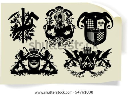 Vector silhouettes, heraldic 35, vector illustration - stock vector