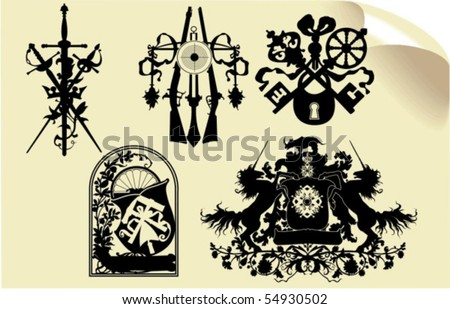Vector silhouettes, heraldic 37, vector illustration - stock vector