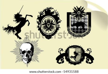 Vector silhouettes, heraldic 38, vector illustration - stock vector