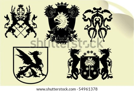Vector silhouettes, heraldic 36, vector illustration - stock vector