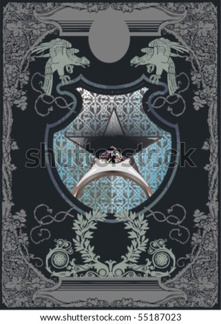 Vector silhouettes, heraldic 46, vector illustration - stock vector