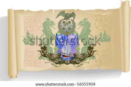 Vector silhouettes, heraldic 64 ,vector silhouettes - stock vector