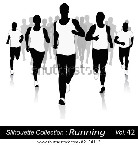 Vector silhouettes.Jogging in the city - stock vector
