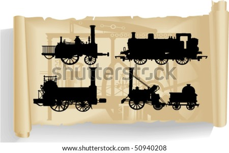Vector silhouettes, locomotive 2,vector illustration - stock vector