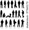 Vector silhouettes man and women, isolated on white - stock photo