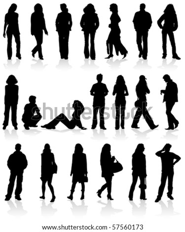 Vector silhouettes man and women, isolated on white - stock vector