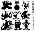 Vector silhouettes. Monster set. - stock vector