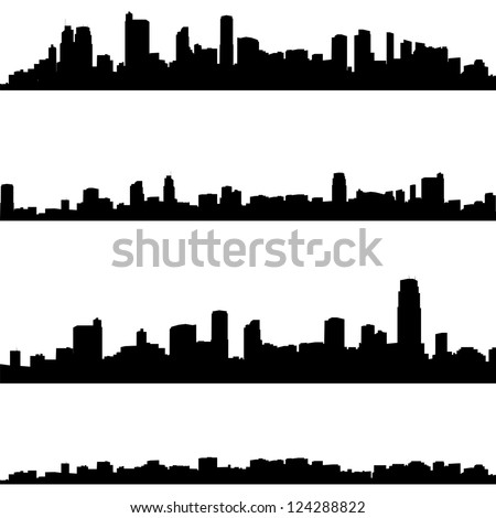 Vector silhouettes of abstract cities panoramas