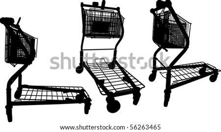 Vector silhouettes of Building materials supermarket shopping cart - stock vector