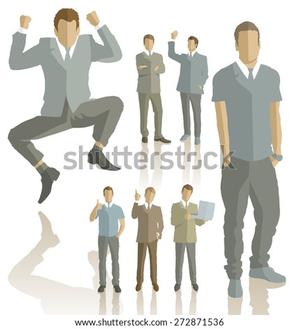 Vector silhouettes of business people with transparency shadows - stock vector