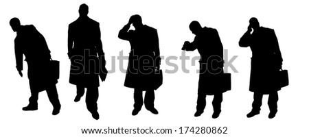vector Silhouettes of businessmen with a coat