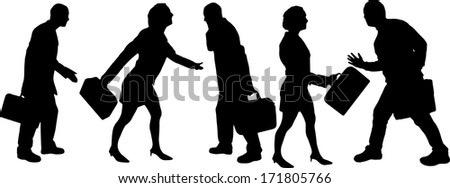vector Silhouettes of businesspeople - stock vector
