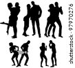 Vector silhouettes of couple. Life steps - stock vector