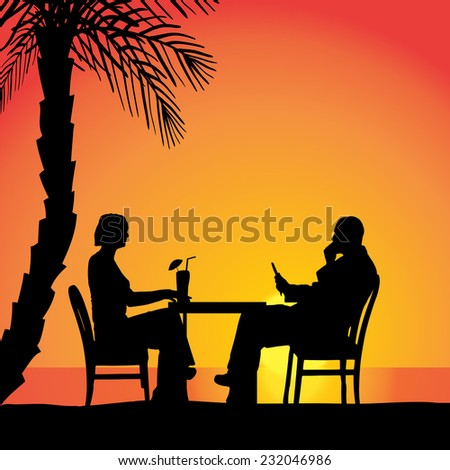 Vector silhouettes of couple sitting at the table.