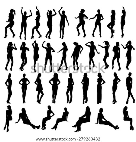 Vector silhouettes of dancing, standing and sitting women. Women in various poses. - stock vector