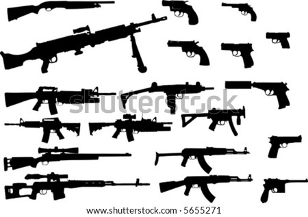 Vector silhouettes of different types of guns