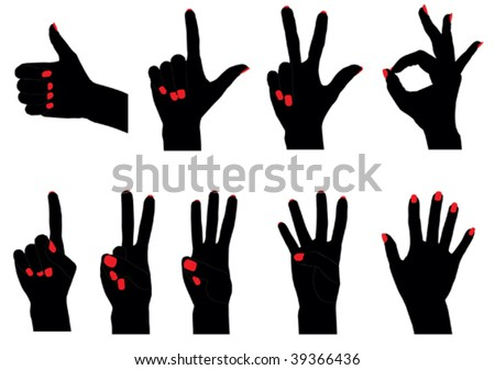 Vector silhouettes of fingers counting from 0 to 5 - stock vector