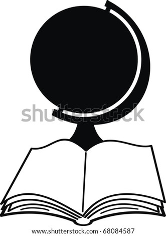 Vector  silhouettes of globe and book - isolated illustration on white background. - stock vector