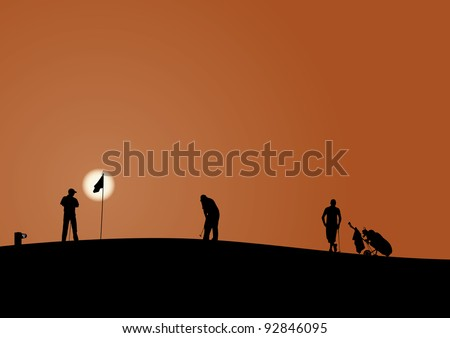 Vector silhouettes of golf players - stock vector
