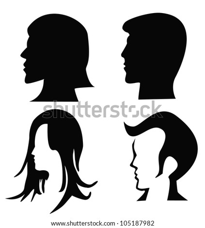 Vector - 4 silhouettes of heads. - stock vector