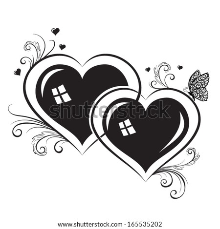 Vector silhouettes of hearts - stock vector