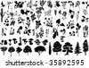 Vector silhouettes of herbs, trees, bushes, flowers, and mushrooms - stock vector