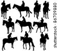 Vector silhouettes of horse racing. - stock vector