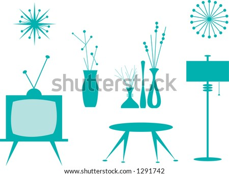 Vector silhouettes of interior items.