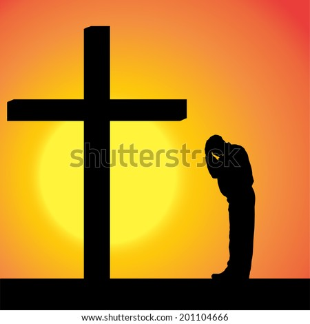 Vector silhouettes of man at the Cross at sunset.