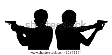 vector silhouettes of men with pistols - stock vector